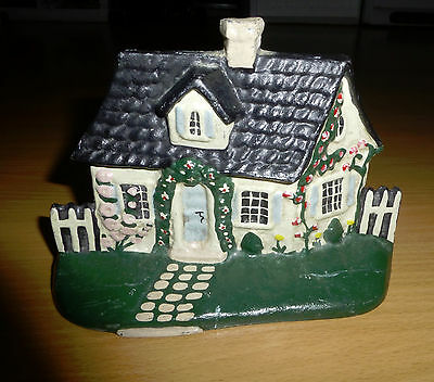 "Vintage Signed Cast Iron Painted Cottage Doorstop Charming 7"" x 1 3/4"" x 5 1/8"""