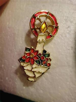 VINTAGE BEATRIX GREEN&RED&WHITE ENAMEL GOLDTONE CHRISTMAS CANDLE DESIGNED PIN