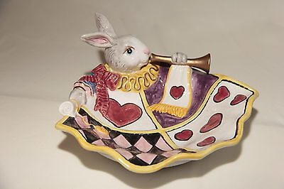 RARE FITZ AND FLOYD ALICE IN WONDERLAND WHITE RABBIT BOWL / PLATE Excellent+!