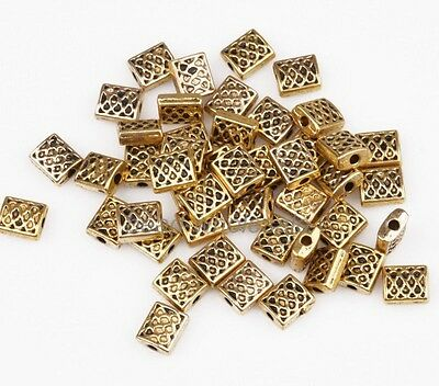 100pcs Zinc Alloy Square Shaped Spacer Beads Antique Gold Tone Findings