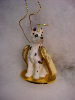 GREAT DANE Harlequin cropped DOG ANGEL Ornament Resin Figurine Christmas puppy