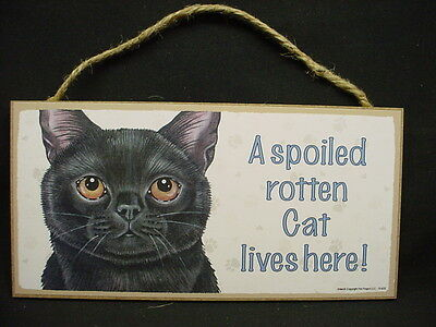 Cute BLACK CAT A Spoiled Rotten KITTY SIGN wall INDOOR hanging PLAQUE kitten pet