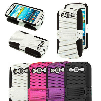 Lot of 4 Mesh Hybrid Hard Soft Silicone Gel Case Cover Stand Samsung Galaxy S3