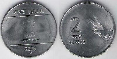 India 2 Rupees two fingers 2009 UNC