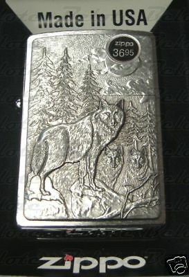 Zippo Timberwolves Emblem Brushed Chrome Lighter 20855