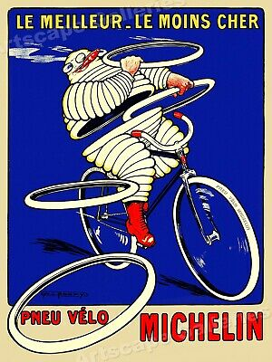 """Pneu Velo Michelin"" Tires 1912 Vintage Cycling Tire Advertising Poster - 24x32"