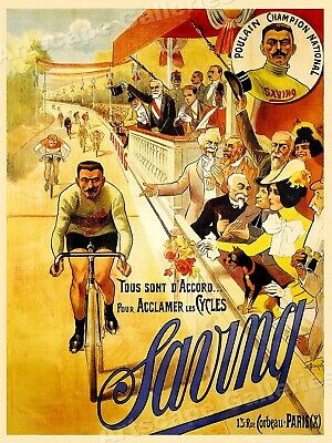 "1890s ""Saving Bicycles"" Poulain Vintage Style French Bicycle Racing Poster 24x32"