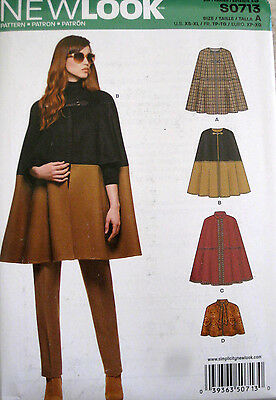NEW LOOK Misses Cape Capelet Front Arm Holes Pattern 0713 6324 UC XS-XL NEW!