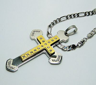 """MEN White Gold Plated 5mm FIGARO Chain Necklace 24"""" w/ S. Steel Cross Pendant"""