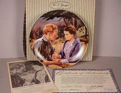 Gone with the Wind Collector Plate ; Scarlett and Ashley 1988 GWTW MIB new w COA