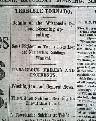 MINERAL POINT Wisconsin Wind Storm TORNADO Disaster1878 Cleveland Ohio Newspaper