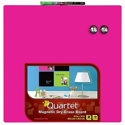 Quartet Dry-Erase Board, 14 x 14 Inches, Frameless, Neon Pink Surface (85411-PK)