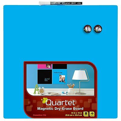 Quartet Dry-Erase Board, 14 x 14 Inches, Frameless, Neon Blue Surface (85471-BU)