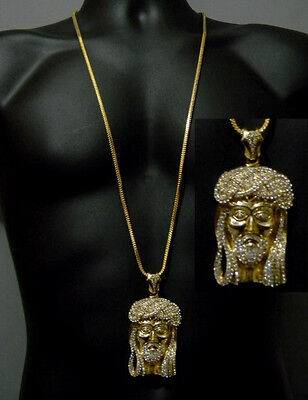 Jesus Piece Pendant Gold Tone Hip Hop Iced Out Franco Chain Crystals New
