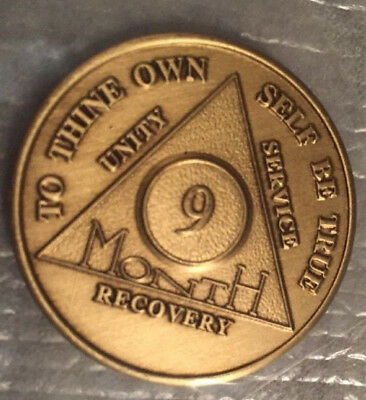 Alcoholics Anonymous 9 Month Recovery Coin Chip Medallion Medal Token AA Bronze