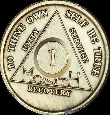Alcoholics Anonymous AA 1 Month 30 Days Chip Medallion Medal Token Bronze Coin