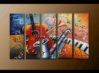 Large Modern Abstract musical oil painting Wall Art Canvas Framed Handmade F8165