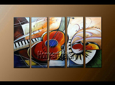 Large Modern musical Abstract oil painting Wall Art Canvas Framed Handmade F8166