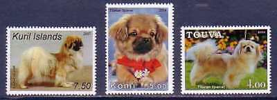 Tibetan Spaniel Dogs 3 different MNH stamps TISP02