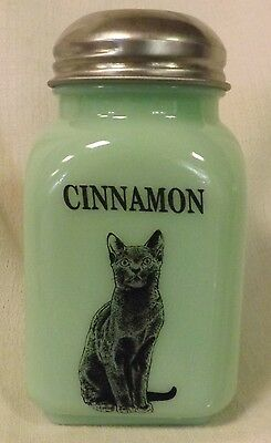Jade Jadite Milk Green Glass Stove Top Spice Shaker w/ Black Cat - CINNAMON