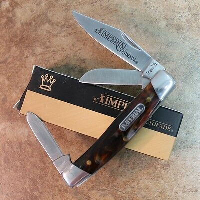 "Imperial Schrade Amber Swirl 3 1/2"" Medium Stockman Pocket Knife IMP15S zix"
