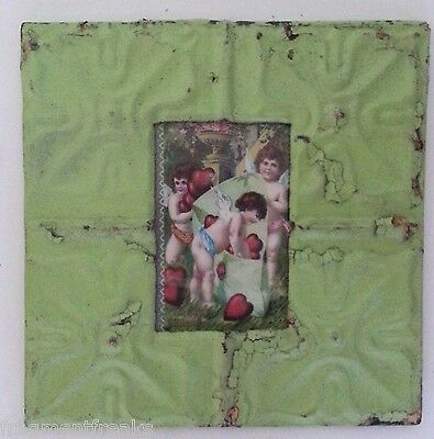 "1890's Antique Ceiling Tin Picture Frame 4"" x 6"" Green MA13 Reclaimed Metal"