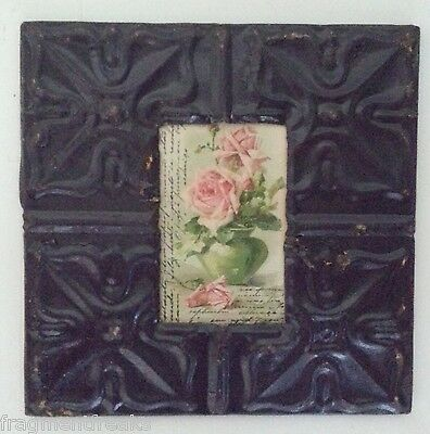 """Antique Ceiling Tin Picture Frame 4"""" x 6"""" Grape MA16"""