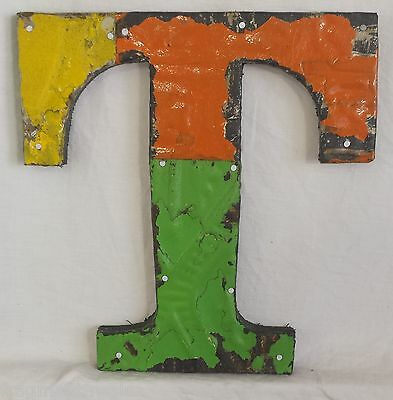 "Antique Tin Ceiling Wrapped 8"" Letter ""T"" Patchwork Metal Mosaic"