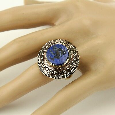 Lapis RING Hand Carved Kuchi Belly Dance Tribal (size 8, 8.5, 9, 9.5 ) 851a3