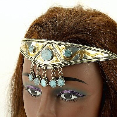 SILVERPLATED with GOLDWASH Turquoise Stone CROWN Tribal Wedding HEADPIECE 619m5