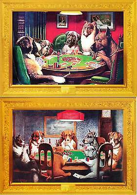 Dogs Playing Cards Poker by C.M. Coolidge on 2 Modern Postcards