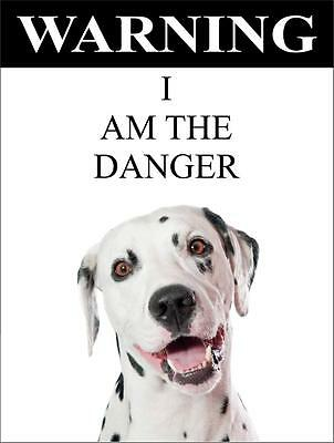 """Warning I Am The Danger """"Dalmatian"""" Metal Dog Sign Available In 4 Sizes"""