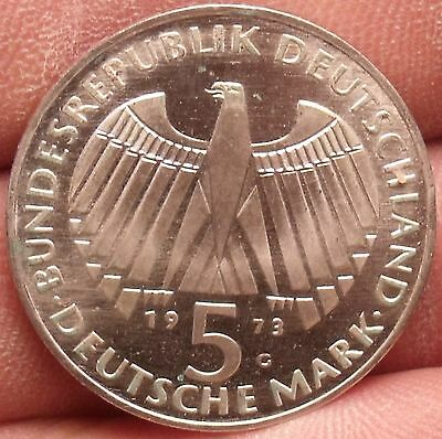 Unc Silver Germany 1973-G 5 Mark~Parliament~EINIGKEIT RECHT FREIHEIT~Free Ship