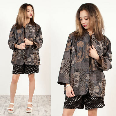 Womens Vintage Grey Floral Carpet Style Patterned Oversize Jacket Blazer 20