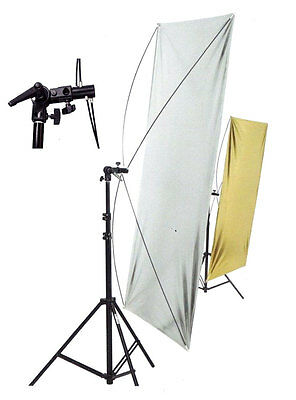 Photo Photagraphy Studio Light Lighting Reflector Screen With Stand Silver Gold