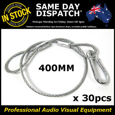 30 x 400mm Steel Safety Security Cable Stage Lighting Light Clamp LED PAR Can