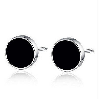Korean Fashion Jewelry Womens Mens 925 Sterling Silver Black Stud Earrings