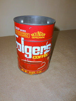 Vintage Folger's Red Empty Metal 16 Oz. Drip Grind Coffee Can - Rustic