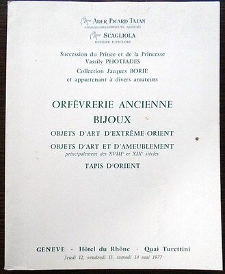Catalogue Ader Succession Prince Photiades Collection Borie Mobilier XVIIIe 1977