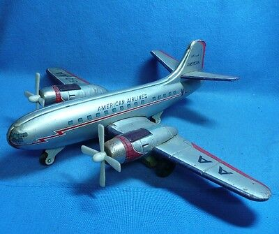 Vintage Bandai Japan American Airlines N501AA Tin Twin Engine Friction Airplane