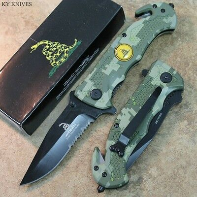 "8"" Don't Tred On Me Camo Assisted Open Rescue Pocket Knife TY0210-CMR zix"