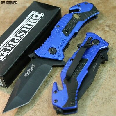 "8"" Blue Police Tanto Tactical Assisted Open Resuce Pocket Knife 8352-BL zix"