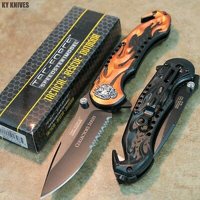 "8"" ORANGE Skull Flame Assisted Open Rescue Pocket Knife NEW TF-736OR zix"