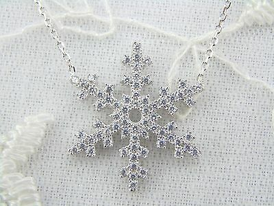 925 Sterling Silver Snowflake Necklace w Crystal Cubic Zirconia Rhodium Plated