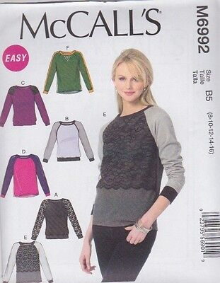 McCall's Sewing Pattern Misses' Fitted Pullover Tops Sizes 8 -24 M6992