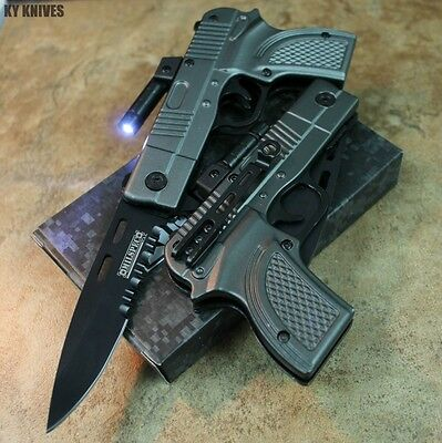"8"" Glock Gun Style Spring Assisted Pocket Knife W/Led Light GRAY 9001-GY2 zix"