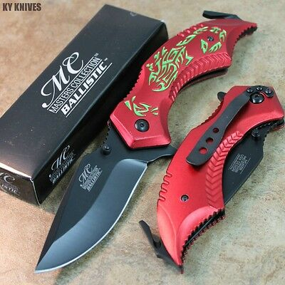 "8"" RED/GREEN Scoprion Assisted Open Rescue Pocket Knife MC-A009RDG zix"