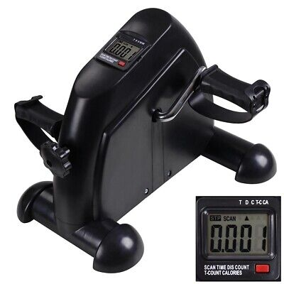 Exercise Cycle Fitness Mini Pedal Stepper Bike Indoor 4 Legs w/LCD Display Black