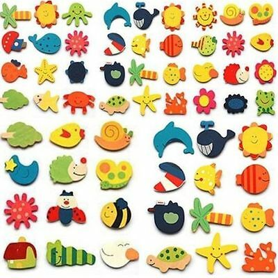 24pcs Novelty Animals Wooden Fridge Magnet Sticker Cute Funny Refrigerator Toy