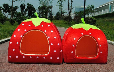 Soft Strawberry Pet Dog Cat Bed House Kennel Doggy Warm Cushion Basket Red Small